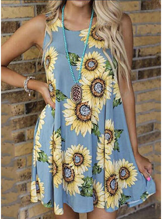 Sunflower Print Sleeveless Shift Above Knee Casual/Vacation Dresses
