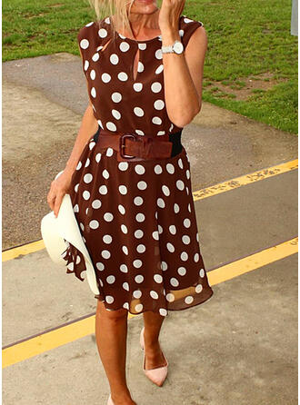 PolkaDot Sleeveless A-line Knee Length Casual Skater Dresses