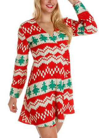 Print Long Sleeves A-line Above Knee Christmas/Casual Dresses