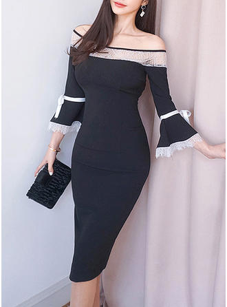Lace Long Sleeves/Flare Sleeves Sheath Above Knee/Knee Length Casual/Elegant Dresses