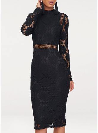 Lace/Floral/Solid Long Sleeves Bodycon Knee Length Little Black/Casual/Elegant Dresses