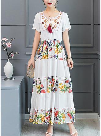 Embroidery Print U Neck Midi Shift Dress