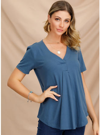 Solid V-neck Short Sleeves Casual Elegant Knit Blouses