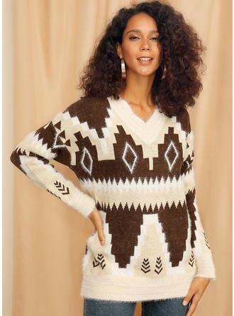 Print Cable-knit Chunky knit V neck Sweaters