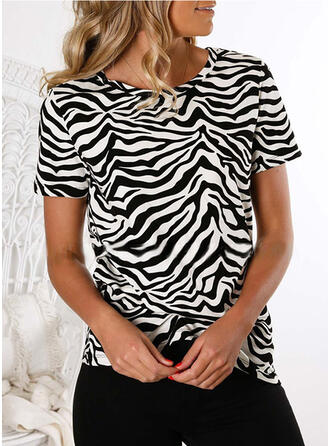 Animal Print Round Neck Short Sleeves Casual T-shirts