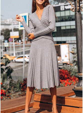 Solid Mâneci Lungi Tip A-line Negre/Casual/Elegant Midi Elbiseler