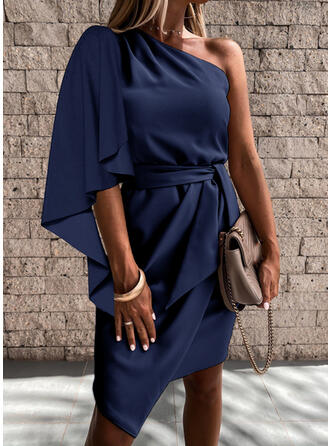 Couleur Unie Manches 1/2 Moulante Asymétrique Petites Robes Noires/Fête Robes