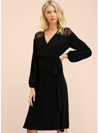 Lace/Solid Long Sleeves A-line Midi Little Black/Casual/Elegant Dresses