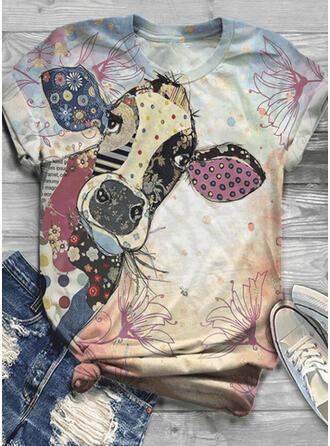 Imprimé Animal Col Rond Manches Courtes Décontractée T-shirts