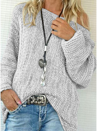 Einfarbig Grobstrick One-Shoulder Pullover
