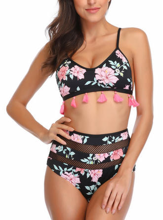 Imprimé Tropical À Bretelles Sexy Grande taille Bikinis Maillots De Bain