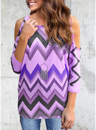 Print Striped Cold Shoulder 3/4 Sleeves Casual Knit T-shirt