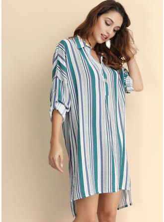 Striped 3/4 Sleeves Shift Asymmetrical Casual Dresses
