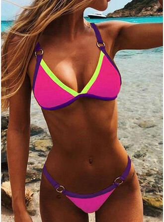 Splice color Strap V-Neck Sexy Fashionable Casual Bikinis Swimsuits