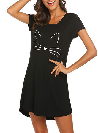 Polyester Solid Round Neck Cartoon Short Sleeves Animal Night Dress