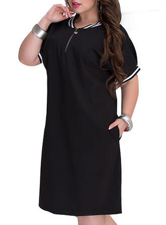 Solid 1/2 Sleeves Shift Casual/Plus Size Midi Dresses