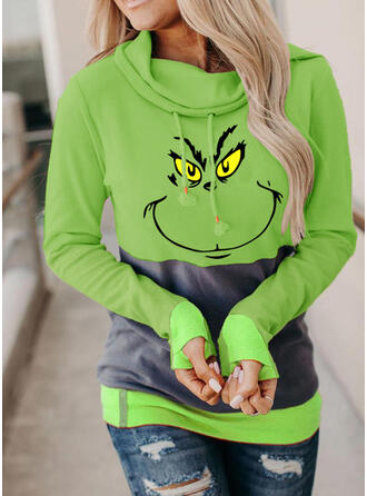 Print Color Block Lange Mouwen Kerst Sweatshirt
