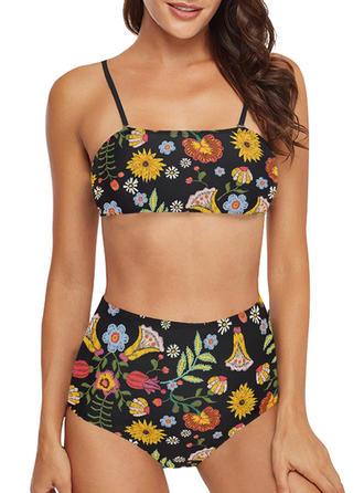 Květinový vzor Na ramínka Sexy Bikiny Costume de baie