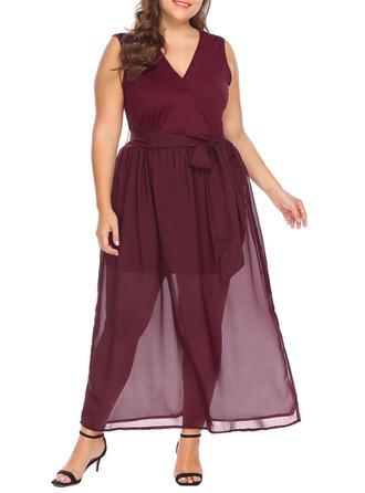 Solid V-neck Midi A-line Dress