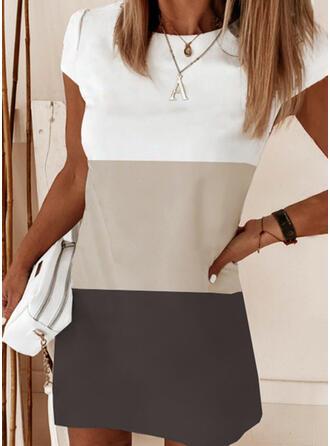 Geblockte Farben Kurze Ärmel Shift Über dem Knie Freizeit Tunika Kleider