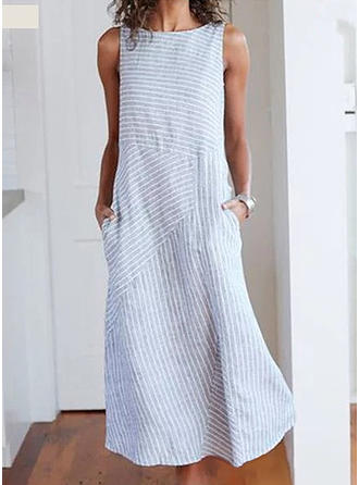 Striped Sleeveless Shift Midi Casual Dresses