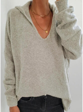 Solid Hooded Casual Sweaters
