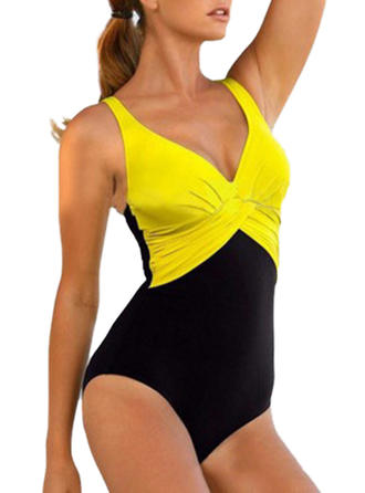 Splice color Strap Fashionable One-piece Swimsuits