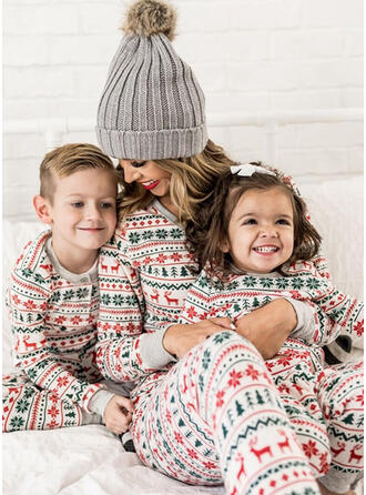 Deer Striped Print Family Matching Christmas Pajamas