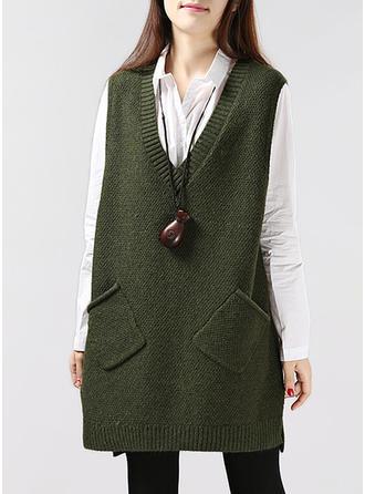 Acrylic V-neck Plain Sweater