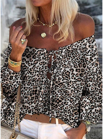 Print luipaard Off the Shoulder Lange Mouwen Casual Blouses