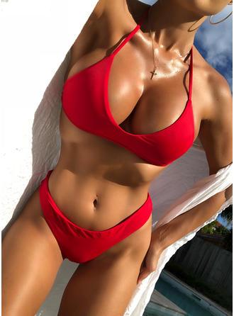 Color Sólido Cadena Sin Mangas Sexy Bikinis Trajes de baño