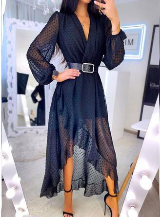 Solid Long Sleeves/Lantern Sleeve A-line Asymmetrical Casual Skater Dresses