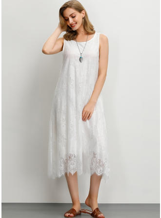 Lace/Solid Sleeveless Shift Midi Casual Dresses