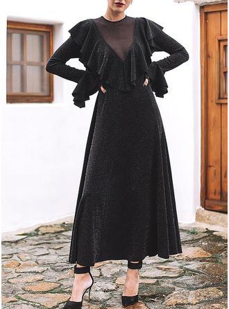 Couleur Unie Manches Longues/Manches Évasées Trapèze Maxi Petites Robes Noires/Fête Robes