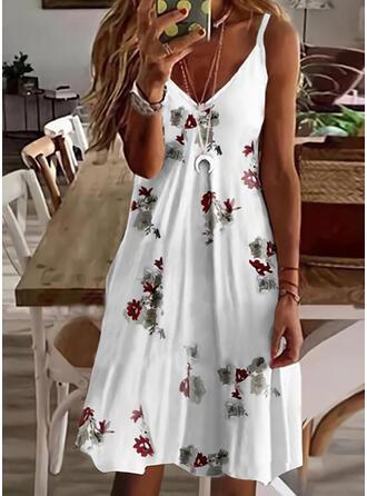 印刷/フローラル ノースリーブ シフトドレス 膝上 カジュアル/休暇 スリップ ドレス