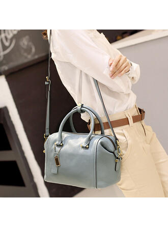 Charming/Classical/Lichee Pattern/Solid Color Shoulder Bags/Boston Bags