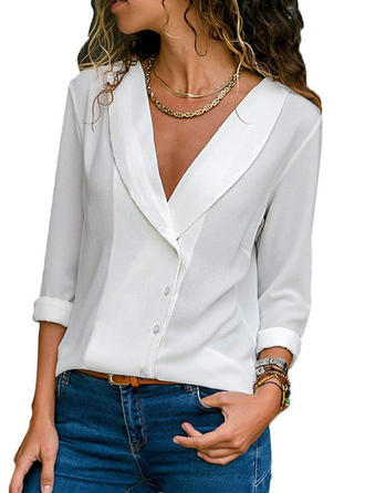 Solid V Neck Long Sleeves Button Up Casual Elegant Blouses