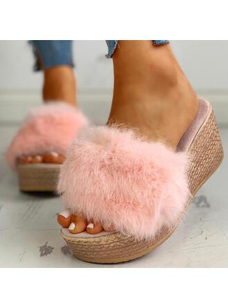 Femmes Tissu Talon plat Sandales Chaussons avec Fourrure chaussures