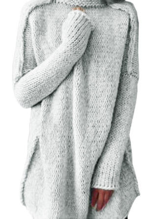 Solid Turtleneck Sweater Dress