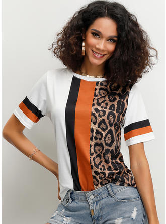 Color Block Animal Print Round Neck Short Sleeves Casual T-shirts