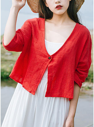 Solid V Neck 3/4 Sleeves Button Up Casual Blouses