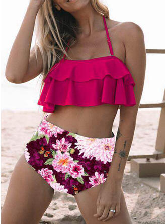 Floral High Waist Print Halter Sexy Bikinis Swimsuits