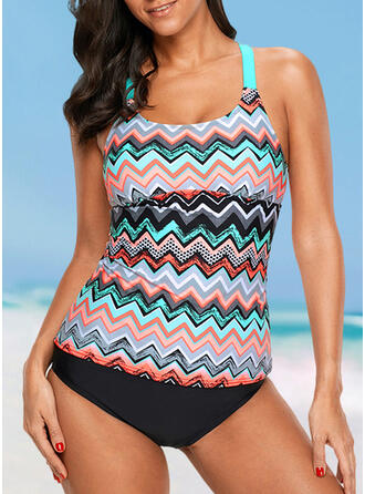 Stripe Strap U-Neck Sexy Fresh Plus Size Tankinis Swimsuits