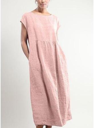 Solid Cap Sleeve Shift Maxi Casual Dresses