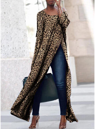 Animal Print Long Sleeves Shift Maxi Casual Dresses