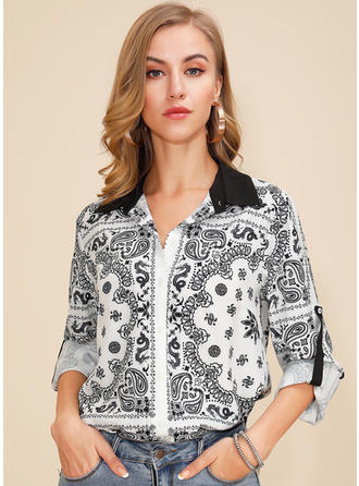 Print Lapel Long Sleeves Button Up Casual Elegant Shirt Blouses