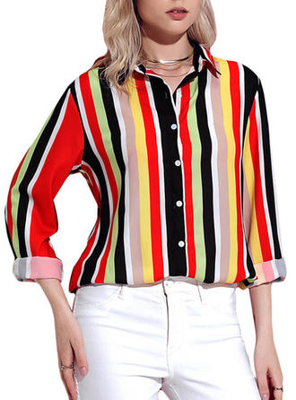 Polyester Lapel Striped Long Sleeves Button Up Blouses
