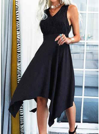 Einfarbig Ärmellos A-Linien Asymmetrisch Kleine Schwarze/Elegant Skater Kleider