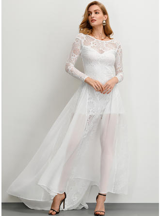 Lace/Solid Long Sleeves A-line Asymmetrical Party/Elegant Dresses