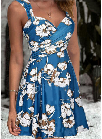 Floral Print Strap V-Neck Vintage Swimdresses Swimsuits